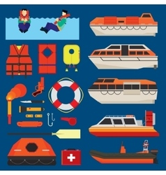 Water survival equipment vector