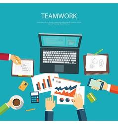 business teamwork concept flat design template vector image