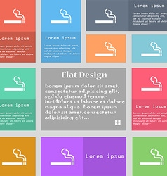 Cigarette smoke icon sign set of multicolored vector