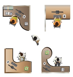 Office furniture top view set 9 vector