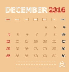 December 2016 monthly calendar template vector