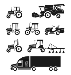 Tractors and combine harvesters icons set vector