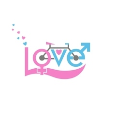 Bicycle in love vector