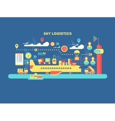 Sky logistics design flat vector