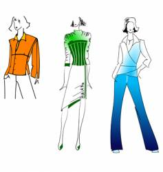 orange green blue fashion girl vector image
