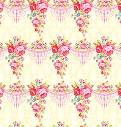 Seamless pattern with red and pink roses vector