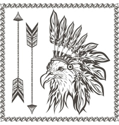 American eagle in ethnic indian headdress vector