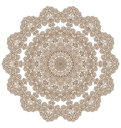 Brown mandala round ornament vector