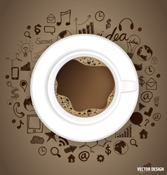 A cup of coffee with application icon vector
