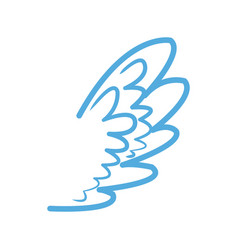 Blue wing feather fly decoration symbol emblem vector