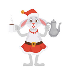 bunny in christmas hat and skirt with tea vector image