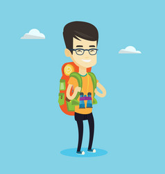 cheerful traveler with backpack vector image vector image