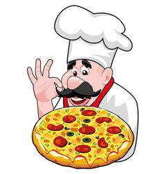 chef with italian pizza vector image vector image