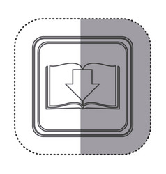 Figure emblem book with down arrow vector