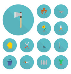 Flat icons rake wheelbarrow cutter and other vector