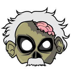 halloween paper mask - physicist zombie vector image vector image