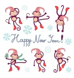 Happy new year card with monkeys - symbol of 2016 vector image vector image