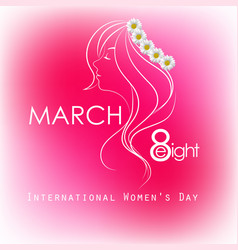 Happy women day for lady face on pink background vector