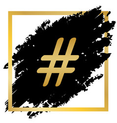 hashtag sign golden icon at vector image vector image