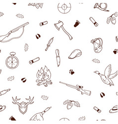 hunting seamless pattern in doodle style vector image vector image