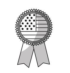 Line emblem with flag of usa inside vector