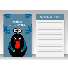 notebook template with black funny monster vector image