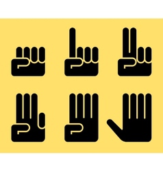 Numbers of 0 to 5 with hands vector image