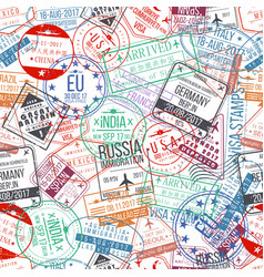 Passport stamp seamless pattern international vector
