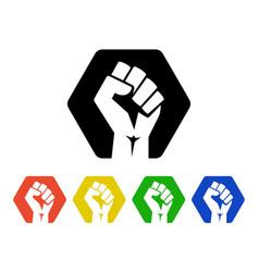 Raised fist logo icons set - isolated illus vector