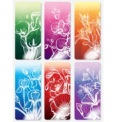 set of stickers with flower vector image