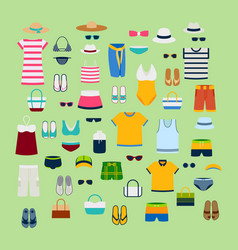 Set of summer clothes and accessories vector