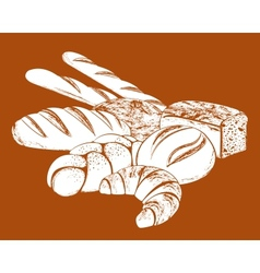 still life with bread vector image