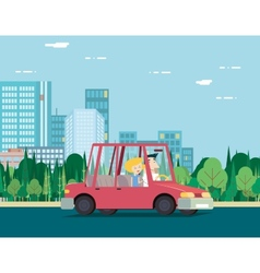 Summer day nature vacation couple car travel vector