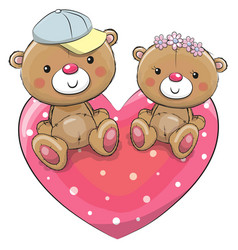 two teddy bears on a heart vector image vector image
