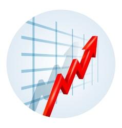 Upward trending arrow on a business graph vector