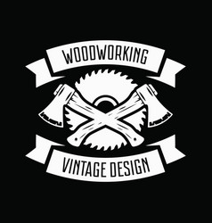 vintage carpentry woodwork and mechanic labels vector image