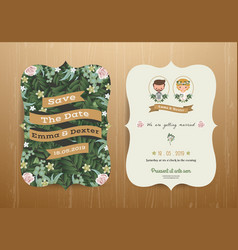 Wedding invitation card cartoon bride and groom vector image