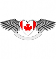 Winged heart canadian flag vector