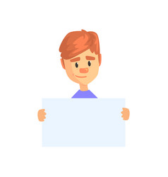 young boy holding blank paper isolated on white vector image vector image