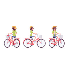 young woman riding a bike vector image