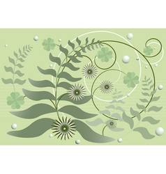 Curved stems with leaves and flowers vector