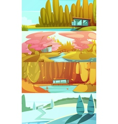 Nature seasons landscapes horizontal banners set vector
