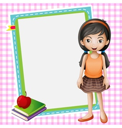 a girl books and a white board vector image