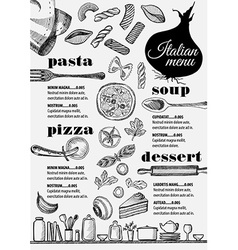 Menu italian restaurant food template placemat vector