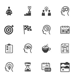 Productive at work icons vector