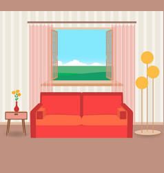 Interior design in flat style of living room with vector