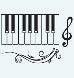 Piano and treble clef vector