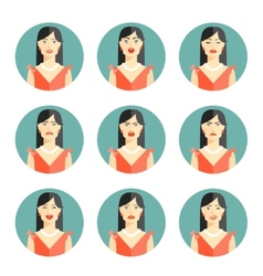 Set of nine different women emotions vector