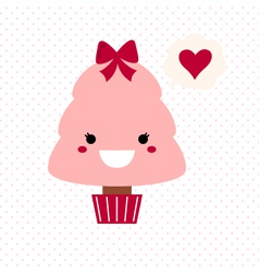 Cute love Kawaii Tree vector image