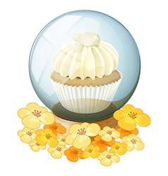 A crystal ball with a mocha-flavored cupcake vector